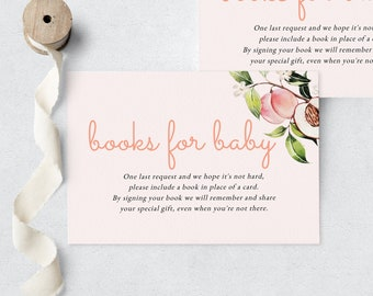 Sweet Little Peach Book Request Insert Card, Peach Blossom Books for Baby Insert, Instant Download [id:6382519]