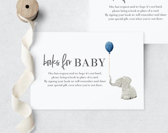 Little Peanut Elephant Baby Shower Book Request Insert Card, Instant Download [id:3938002]