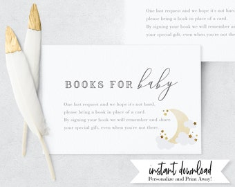 Love You to the Moon and Back Baby Shower Book Request Insert Card, Over the Moon Books for Baby Insert Card, Instant Download [id:4900893]