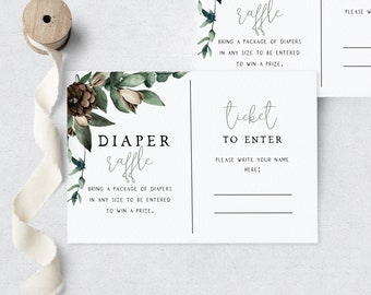 Oh Boy Pine Cone Baby Shower Diaper Raffle Insert Card, Pine Tree Let the Adventure Begin Diaper Raffle Ticket Instant Download [id:5449797]