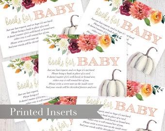 Watercolor Pumpkin Fall Baby Shower Book Request Insert