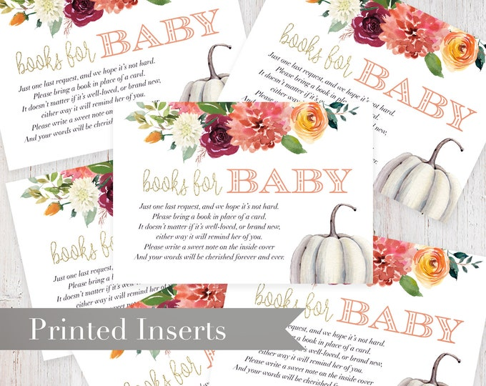 Watercolor Pumpkin Fall Baby Shower Book Request Insert
