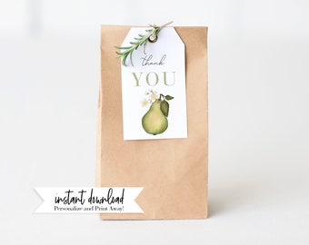 Perfect Pear Wedding Shower Favor Tags, Kitchen Shower Gift Tags, Instant Download [id:3953496]