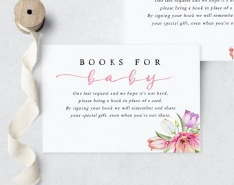 Spring Tulip Baby in Bloom Baby Shower Book Request Insert Card, In Full Bloom Books for Baby Insert Card, Instant Download [id:6171720]
