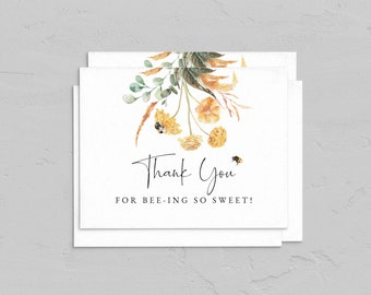Little Honey A2 Folded Thank You Card Template, Sweet as Can Bee Thank You Card, Bee Baby Shower Note Card Instant Download [id:6761309]