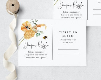 Little Honey Diaper Raffle Insert Card, Bumble Bee Baby Shower Diaper Raffle Ticket, Sweet as Can Bee, Instant Download [id:6749171]