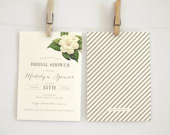 Cream Antique Botanical Flower Bridal Shower Invitation