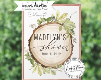 Rustic Gender Neutral Woodland Baby Shower Welcome Sign, Instant Download [id:2013935,2013942,2013968]