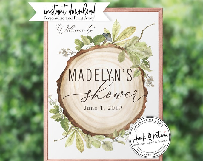Featured listing image: Rustic Gender Neutral Woodland Baby Shower Welcome Sign, Instant Download [id:2013935,2013942,2013968]