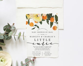 Little Cutie Clementine Baby Shower By Mail Invitation,  Orange Baby Shower Digital Invite Template, Instant Download [id:5818842]