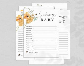 Little Honey Baby Shower Wishes for Baby, Sweet as Can Bee Wishes for Baby, Bee Baby Shower Keepsake Card, Instant Download [id:6760789]