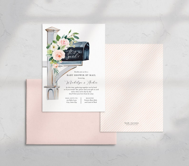 It's a Girl Baby Shower By Mail Invitation Pink It's image 0