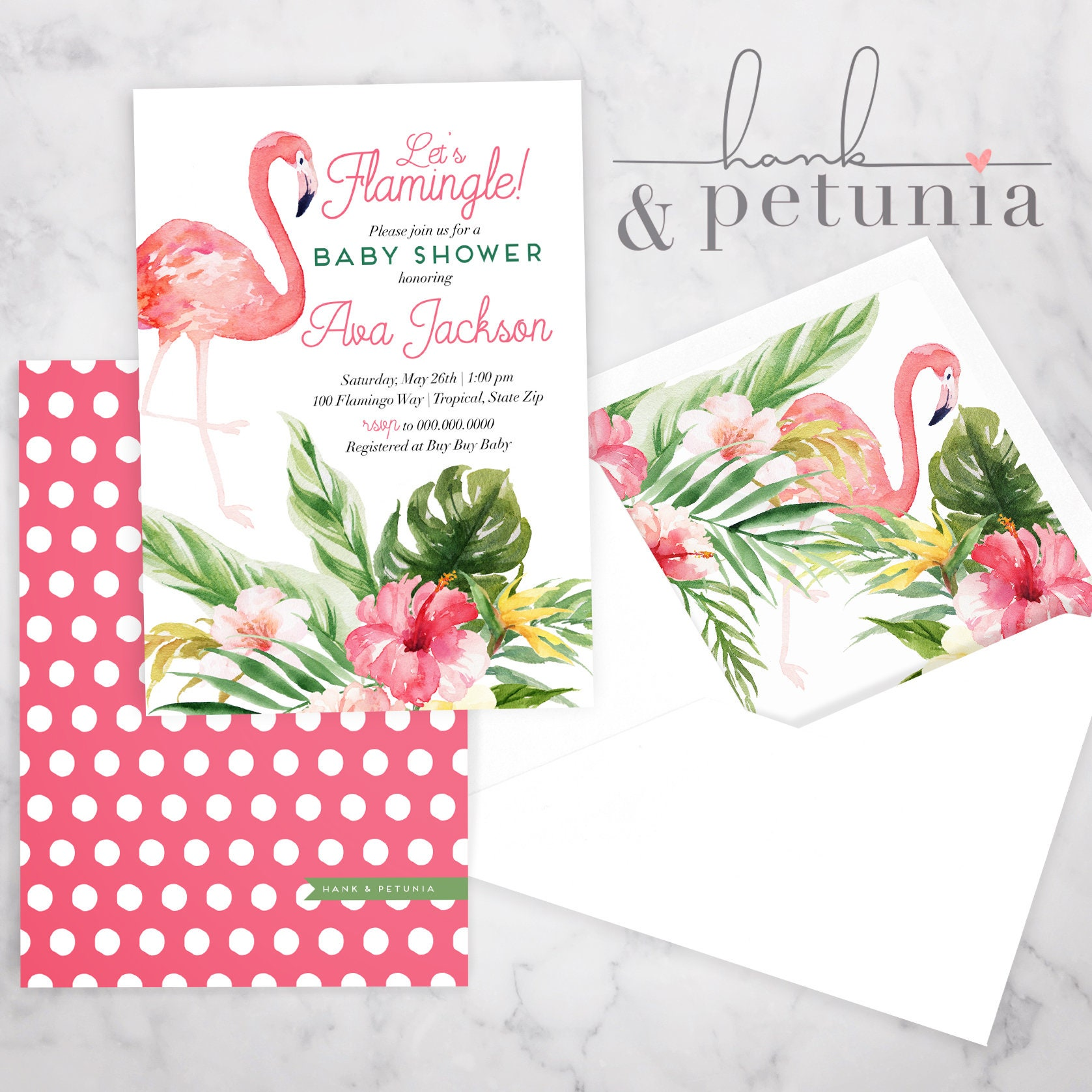 Tropical Flamingo Baby Shower Invitation, Baby Girl Shower, Baby ...