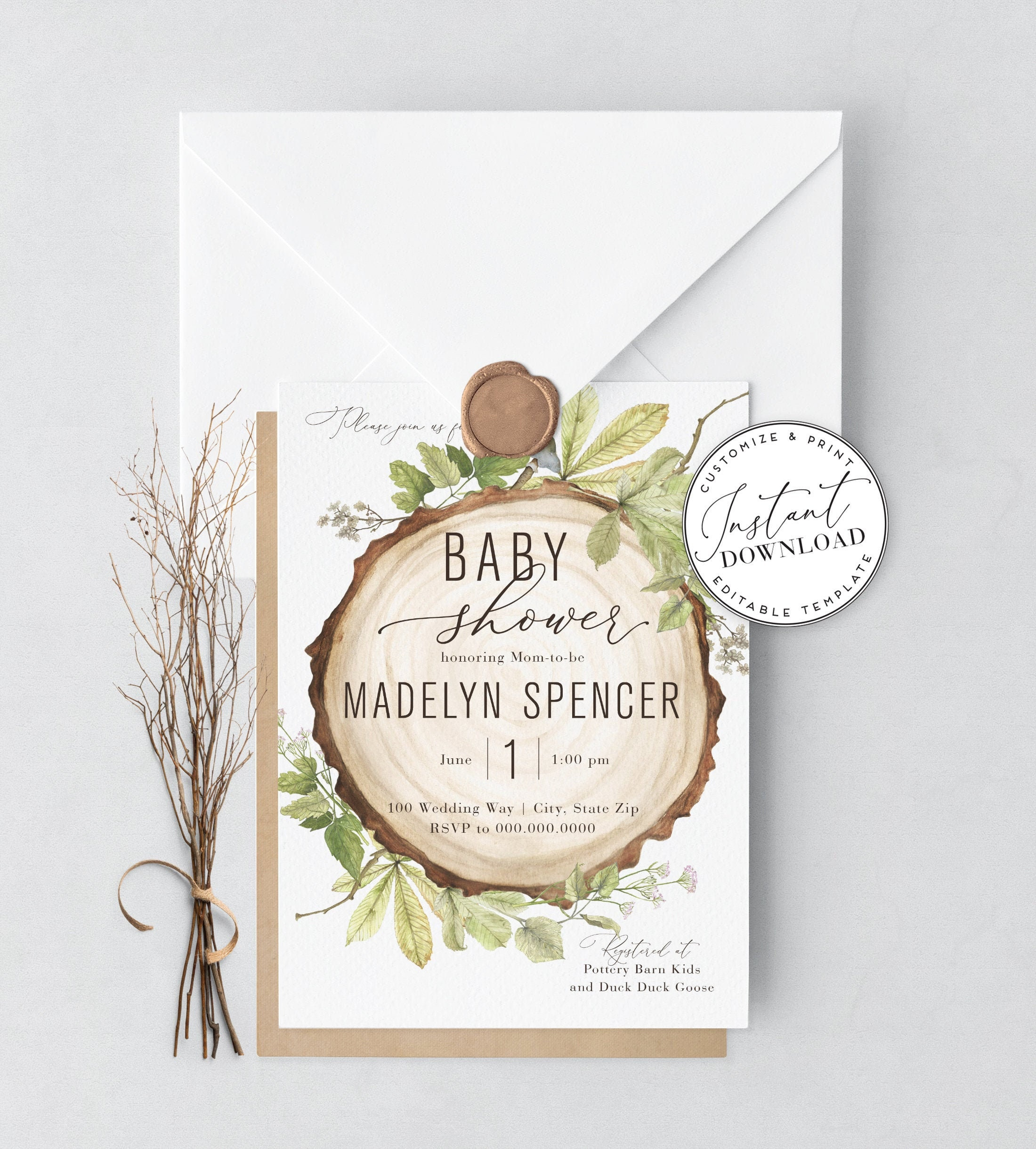 Rustic Woodland Baby Shower Invitation Template Gender