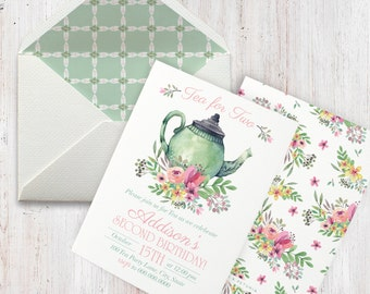 Watercolor Tea Party Birthday Invitation,  Tea for Two Birthday Party Invite, Envelope Liner
