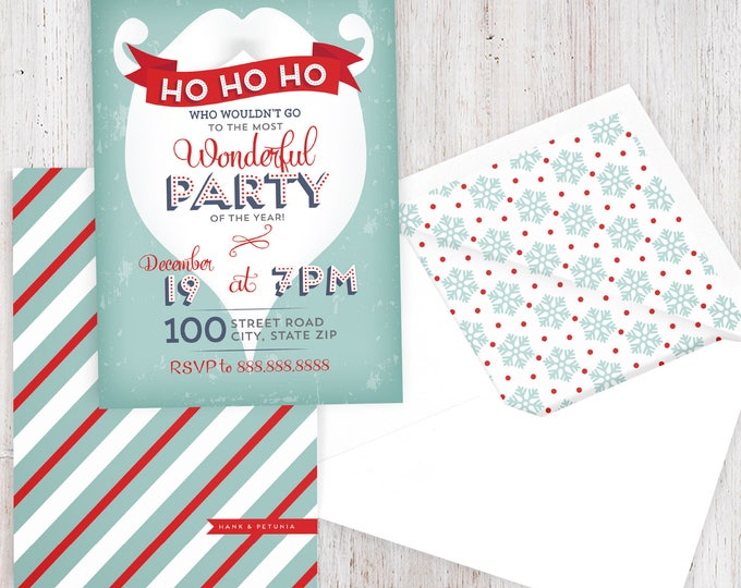 Featured listing image: Retro Santa Beard Holiday Party Invitation, Christmas Party Invitation, Winter Party Invitation, Lined Envelopes