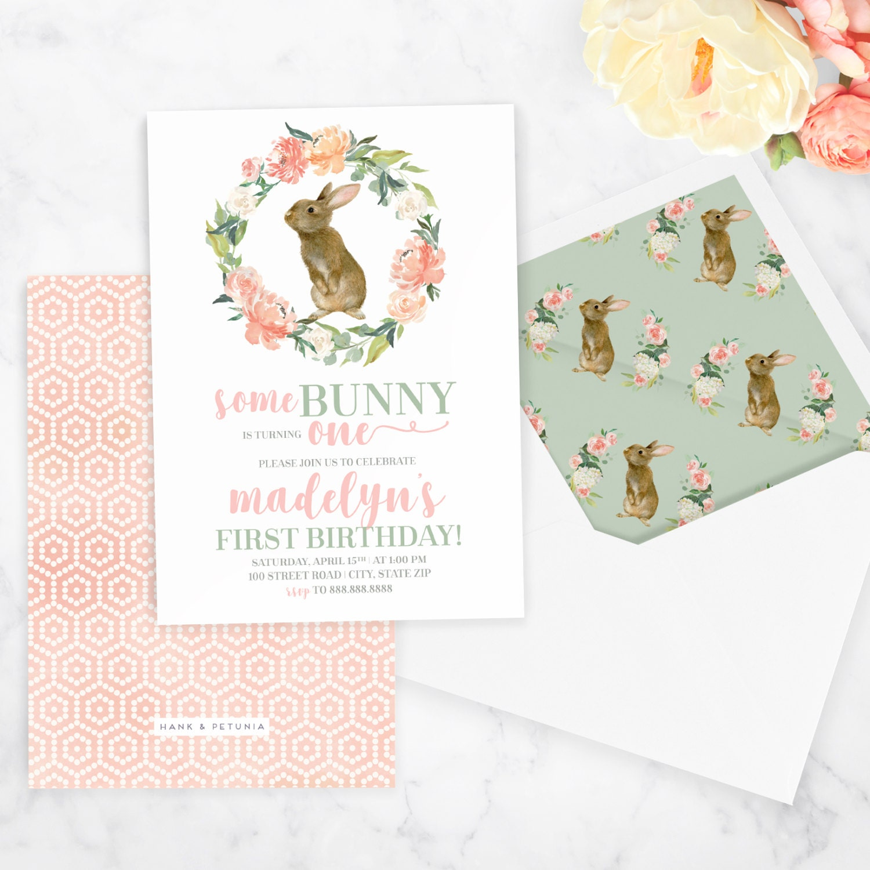 Watercolor Bunny Rabbit Birthday Invitation, Spring Birthday Party ...