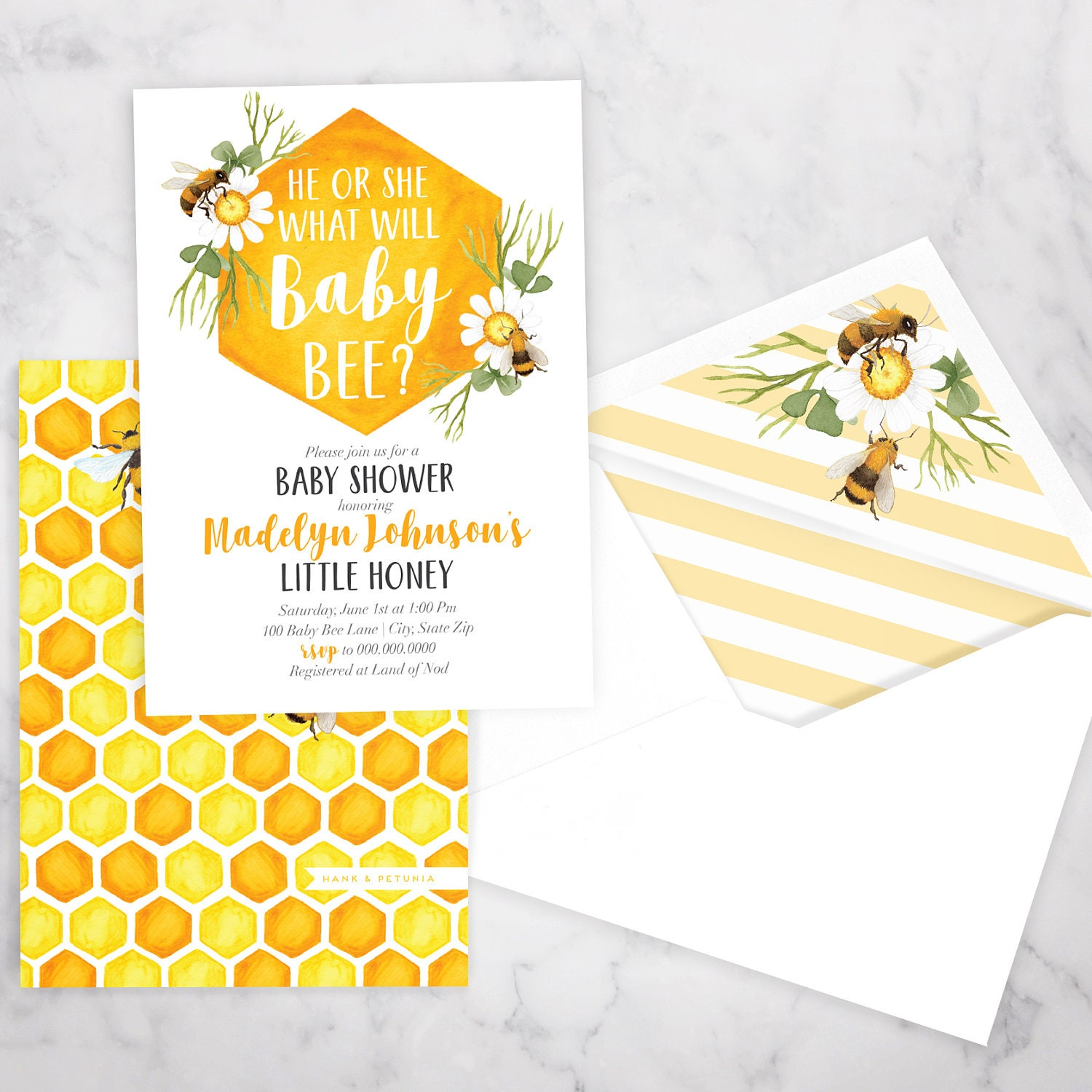 Baby Bee Baby Shower Invitation Bee Gender Reveal Honey Bee Shower