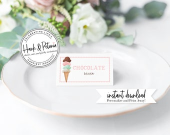 Customizable Ice Cream Party Tented Food Labels, Customizable Ice Cream Social Tented Food Signs, Instant Download [id:2038873]