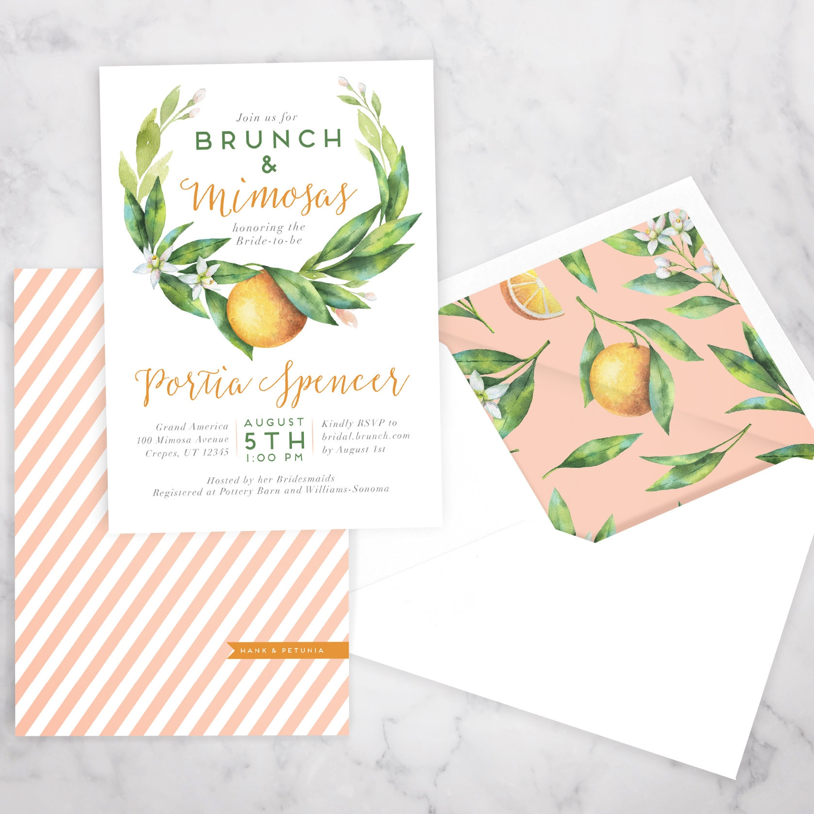 Watercolor Orange Floral Bridal Shower Brunch Invitation Brunch