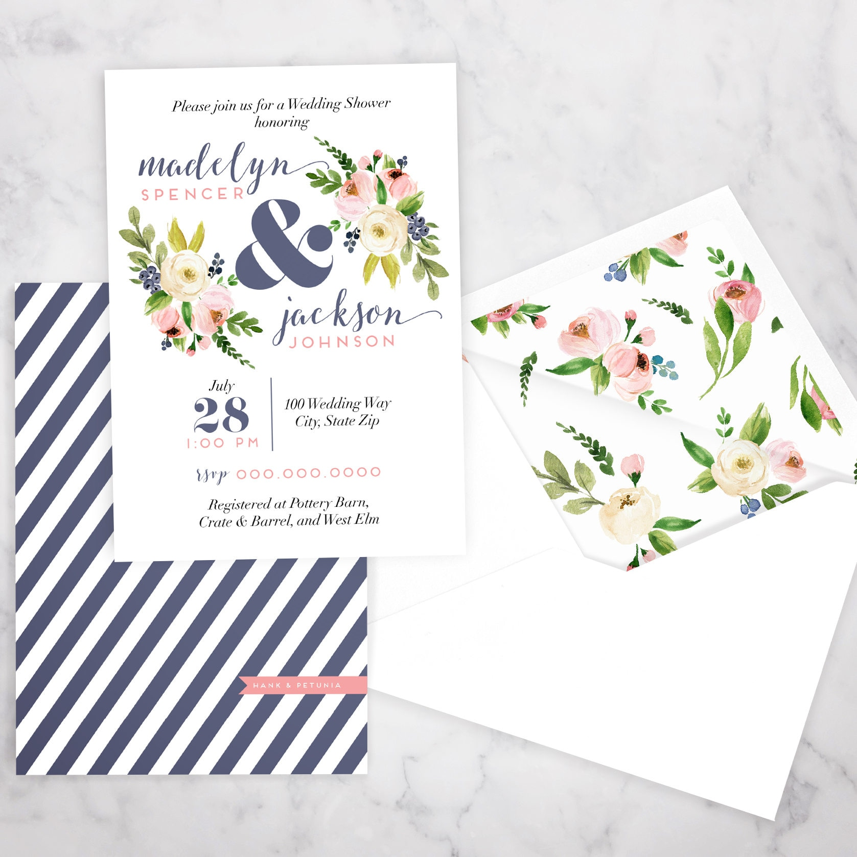 Couples Wedding Shower or Baby Shower Invitation, Joint Shower ...
