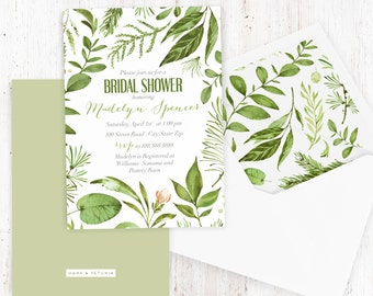 Watercolor Green Leaves Bridal Shower Invitation, Floral Bridal Shower Invite, Boho Chic Bridal Shower Invite, Envelope Liner