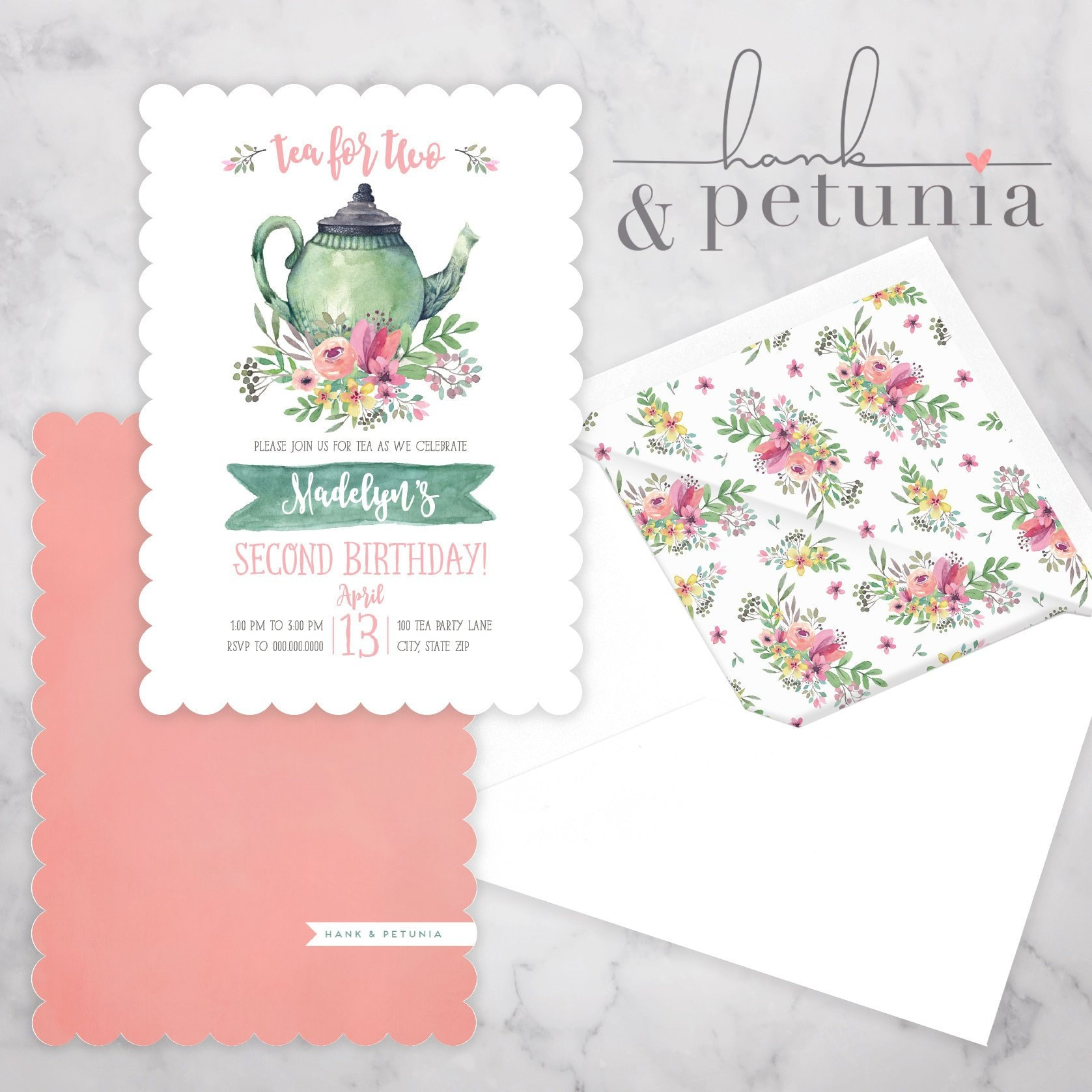 Tea For Two Birthday Party Invitation Envelope Liner 1
