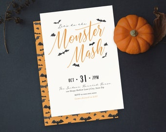 Monster Mash Halloween Party Invitation, Modern Simple Adult Halloween Party Digital Invite Template, Instant Download [id:4965137]