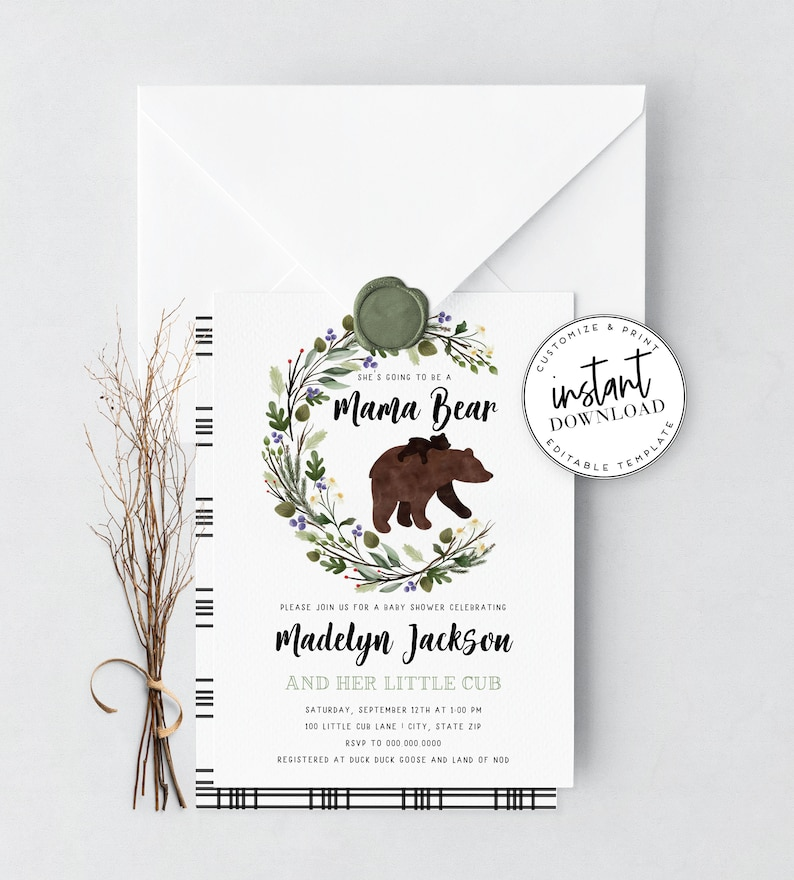Mama Bear Baby Shower Invitation Bear Cub Baby Shower Invite image 0