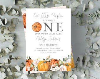 Little Pumpkin First Birthday Invitation, Fall Birthday Party Digital Invite Template, Pumpkin Patch Party Instant Download [id:5130581]