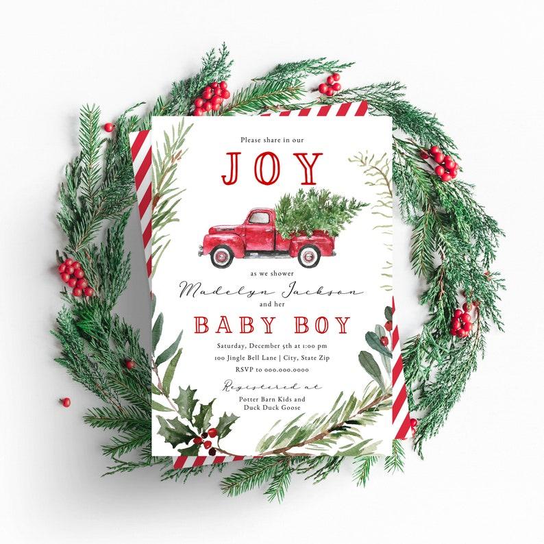 Christmas Tree Truck Baby Shower Invitation  Winter Baby image 0