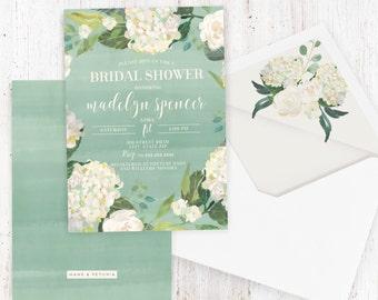 Watercolor Floral Bridal Shower Invitation, Hydrangea Bridal Shower Invite, Boho Chic Bridal Shower Invite, Envelope Liner