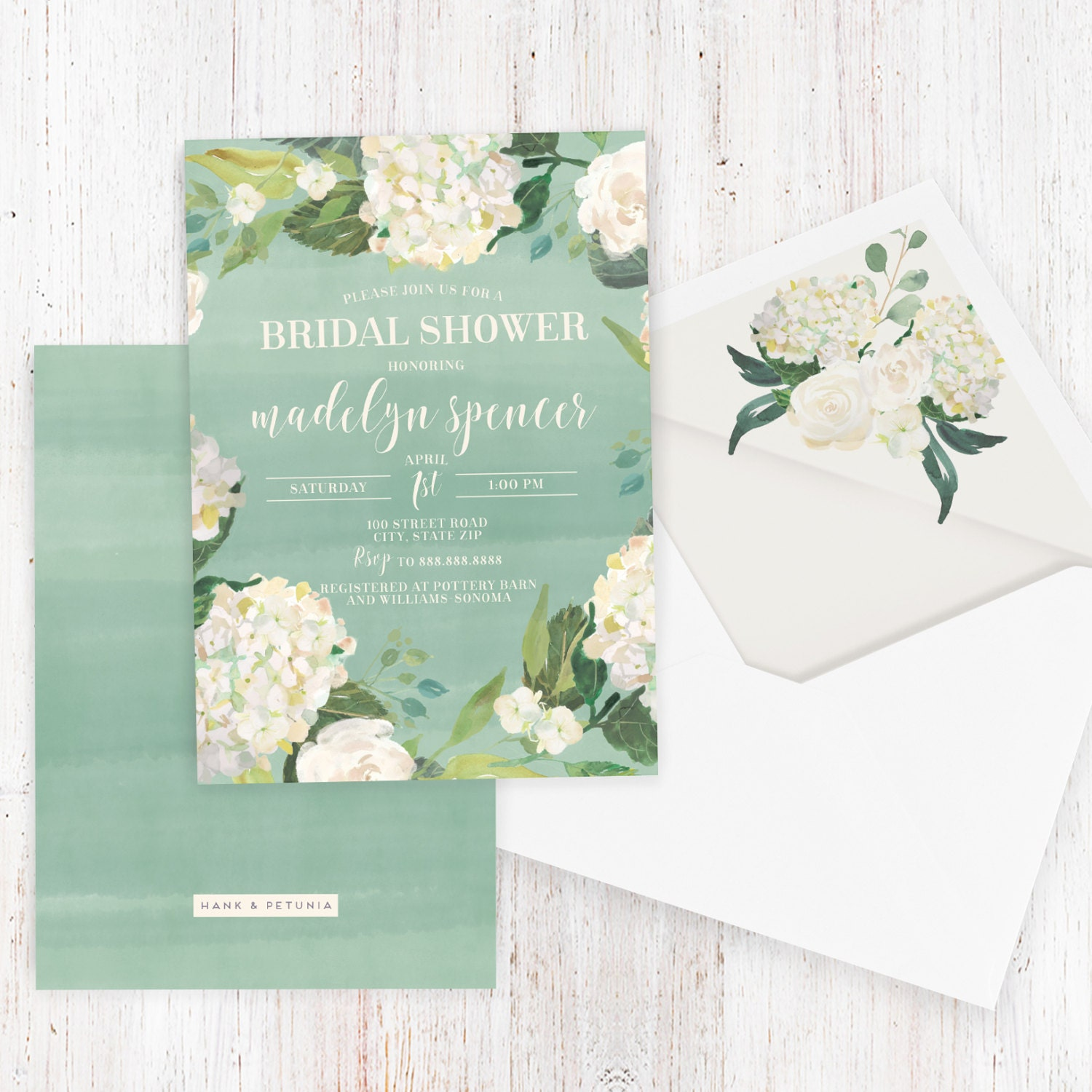 Watercolor Floral Bridal Shower Invitation, Hydrangea Bridal Shower ...