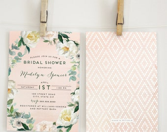Watercolor Boho Bridal Shower or Baby Shower Invitation, Floral Bridal Shower Invite, Boho Chic Bridal Shower Invite, Envelope Liner