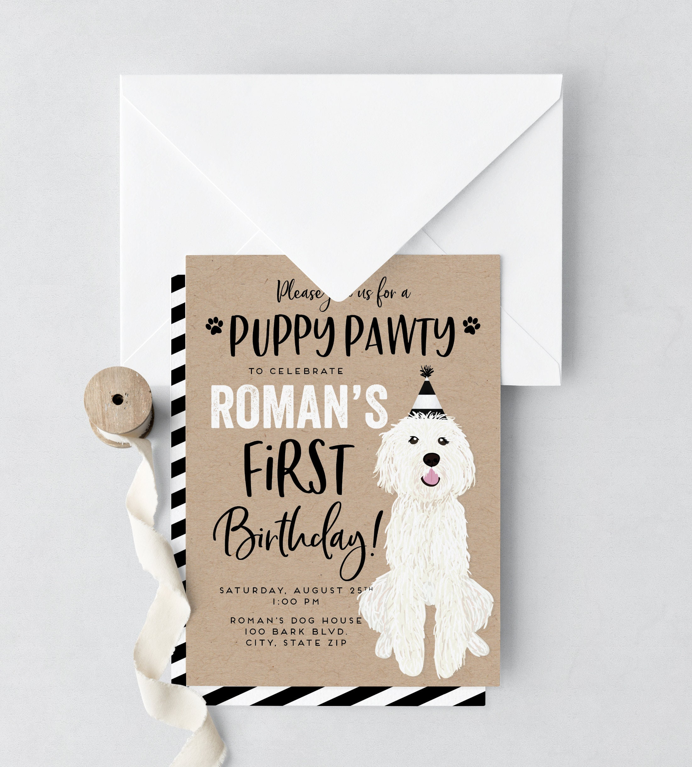 Puppy Party Birthday Invitation Dog