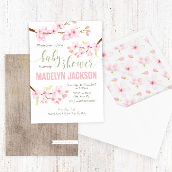 Cherry blossom baby shower invitation watercolor floral baby etsy image 0 filmwisefo