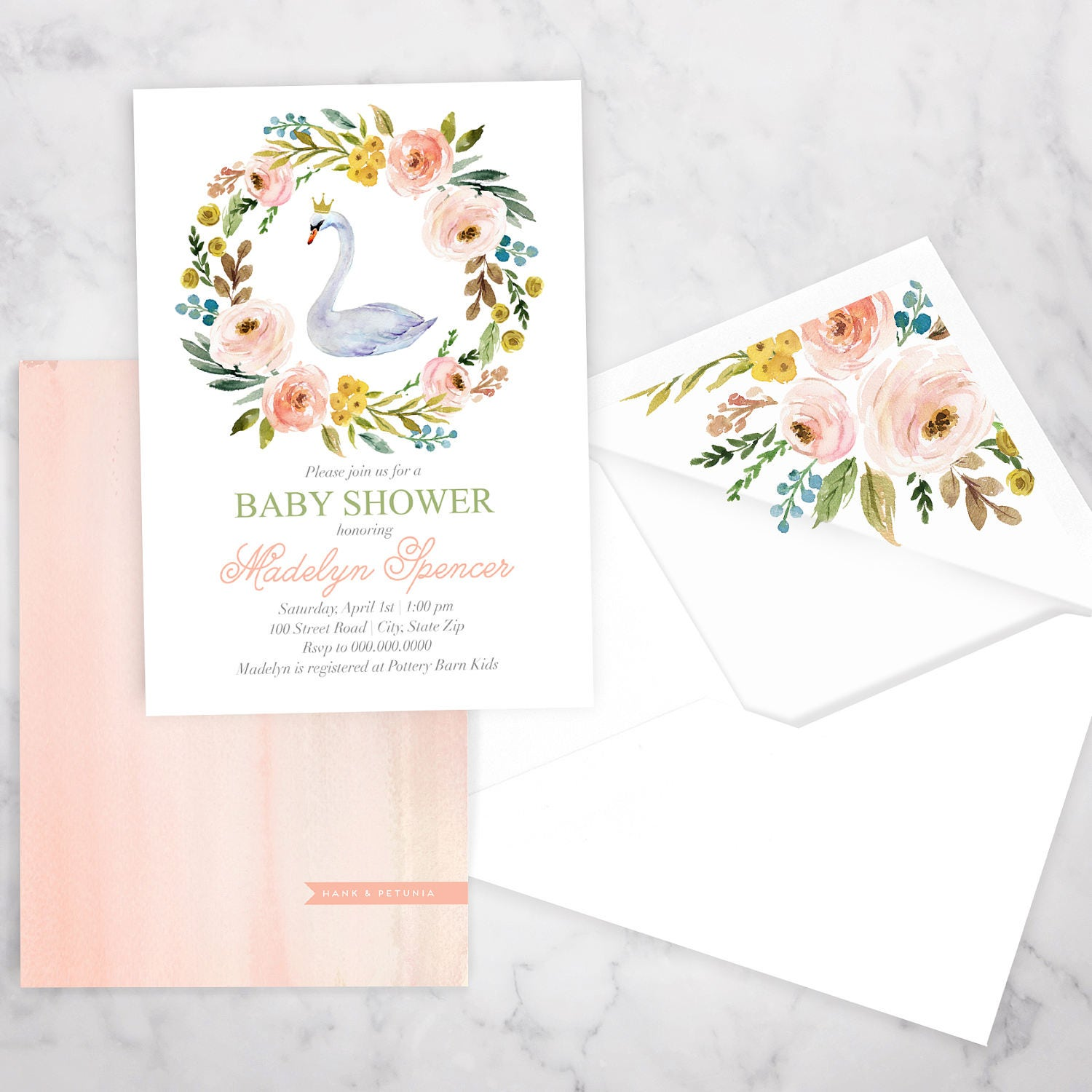 Swan Princess Baby Shower Invitation Little Princess Baby Shower