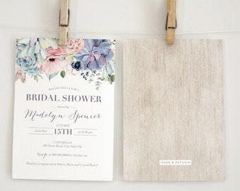 Watercolor Boho Succulent Bridal Shower Invitation, Floral Succulent Bridal Shower Invite, Boho Chic Bridal Shower Invite, Envelope Liner