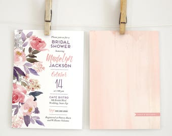Watercolor Boho Floral Peony Bridal Shower Invitation, Blush Pink Bridal Shower Invite, Boho Chic Bridal Shower Invite, Envelope Liner