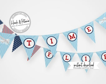 Customizable Airplane Party Banner, Instant Download [id:2039814]