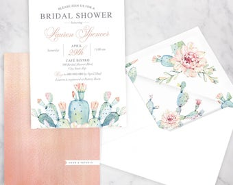 Watercolor Boho Cactus Bridal Shower Invitation, Succulent Bridal Shower Invite, Boho Chic Bridal Shower Invite, Dusty Pink Envelope Liner