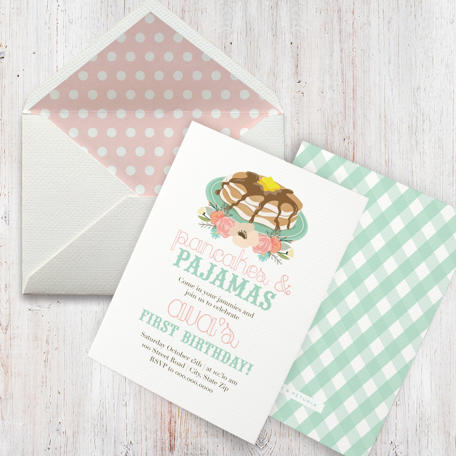 Pancakes pajamas birthday party invitation pancakes and pjs pancakes pajamas birthday party invitation pancakes and pjs invitation birthday invitation envelope liner stopboris Image collections