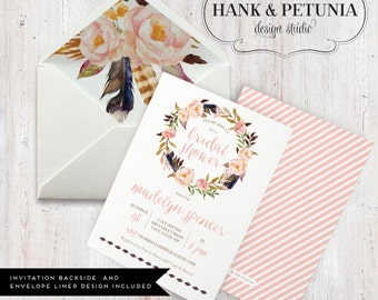 Boho Floral Watercolor Bridal Shower, Bohemian Bridal Shower, Boho Chic Bridal Shower, Watercolor Floral Bridal Invitation