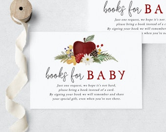 Apple of Our Eye Woodland Baby Shower Book Request Insert Card, Apple Books for Baby Insert Card, Instant Download [id:9112433]