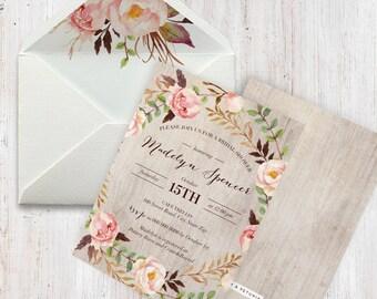 Boho Bridal Shower Invitation, Floral Wreath Bridal Shower Invitation, Boho Chic Bridal Shower Invite, Envelope Liner