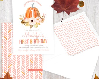 Little Pumpkin Birthday Invitation,  Punkin Birthday Party, Fall Birthday Invite, Envelope Liner