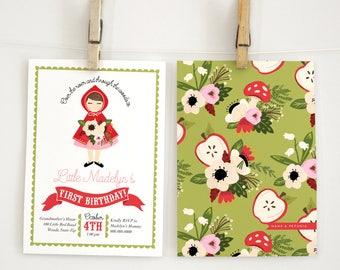 Little Red Riding Hood Birthday Invitation, Fall Birthday Invitation, Woodland Birthday Invit3, Little Girl Birthday Invite, Lined Envelopes