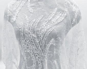 Neglige Lace Striped Lace Fabric Dress Fabric Beaded Lace Beaded Lace Wedding Lace Fabric Linear Lace Fabric Ivory Lace Fabric