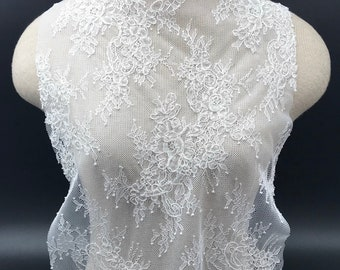 white French lace wedding lace bridal gown lace EVS158C ivory lace embroidered tulle lace Milk white lace fabric