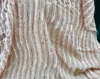 5bbfbe19ef8 Silk beaded chiffon, silk chiffon, pink silk chiffon, pink beads fabric